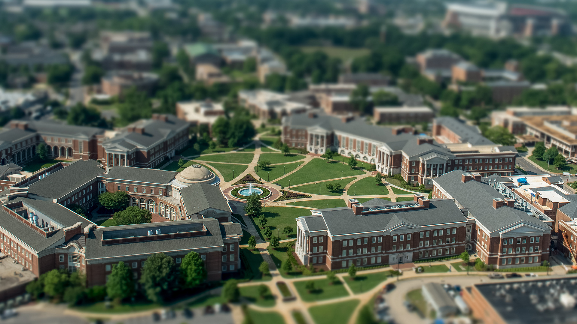 Tilt shift photo of the Engineering campus area
