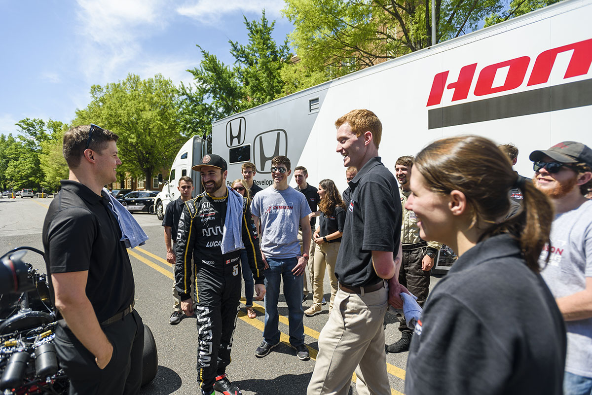 Students gather around outside on Honda STEAM day
