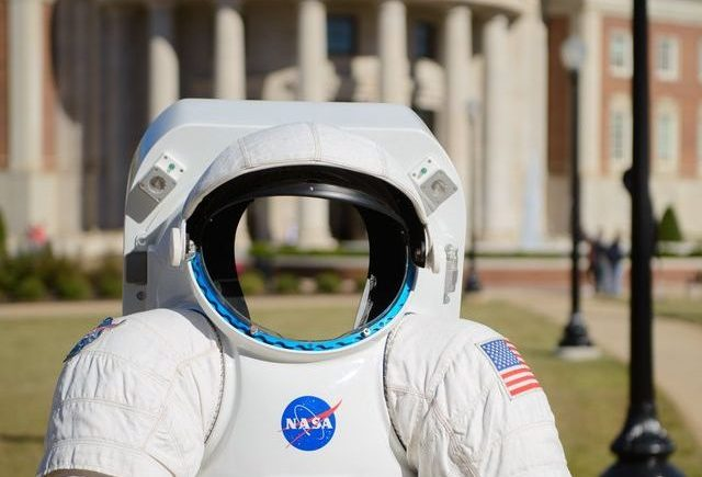 Facebook photo of an empty space suit outside on the engineering quad.