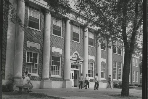 An old black and white photo of Hardaway Hall.