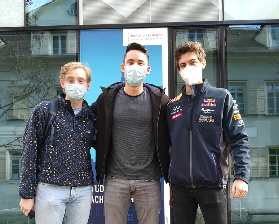 Instagram of three students outside in masks