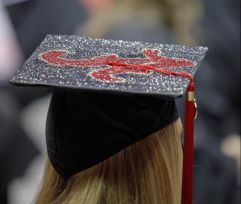 Twitter photo of the top of a graduation cap at commencement